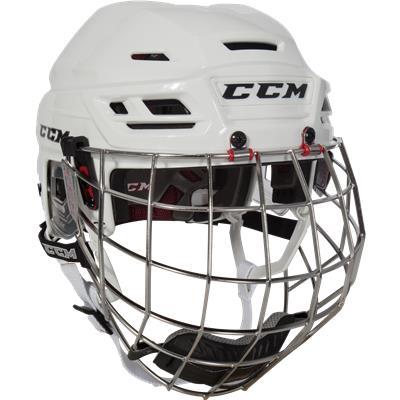 White (CCM Resistance Hockey Helmet Combo)