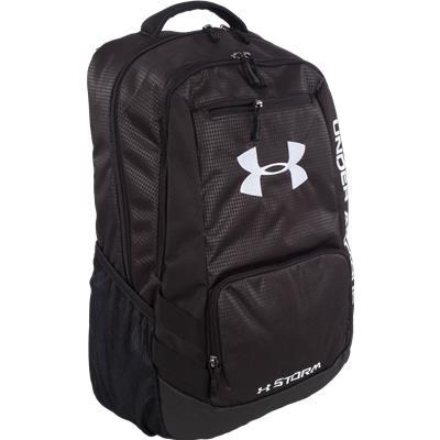Black/Steel/Steel (Under Armour Hustle Backpack Bag)