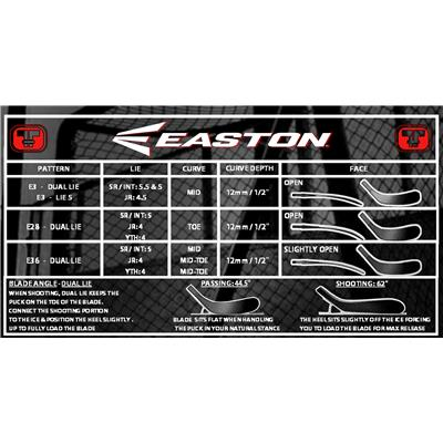 Blade Chart (Easton Synergy 40 Grip Composite Hockey Stick - Intermediate)