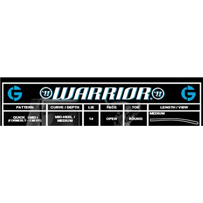 Blade Chart (Warrior Swagger ST Foam Core Goalie Stick)