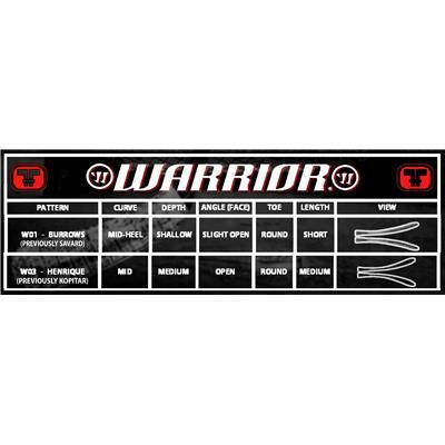 Blade Chart (Warrior Vandal X Grip Composite Stick - Intermediate)