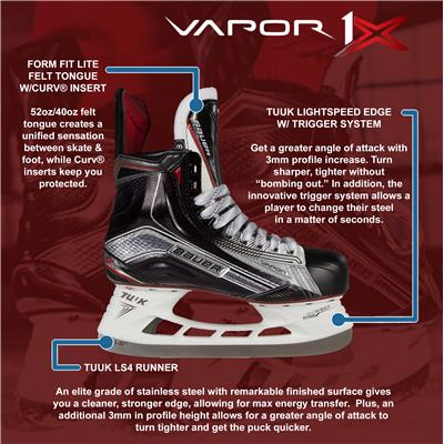 (Bauer Vapor 1X Ice Hockey Skates - Junior)