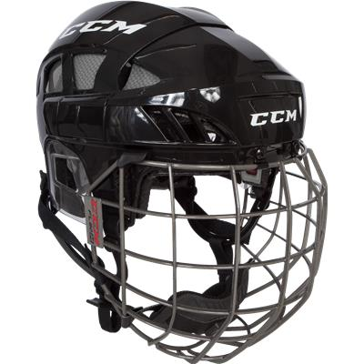 Black/Silver (CCM Fitlite FL80 Hockey Helmet Combo)