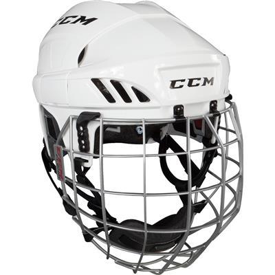 White (CCM Fitlite FL60 Hockey Helmet Combo)