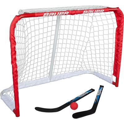 "(Bauer Deluxe Knee Hockey Steel Goal Set w/ 2 Sticks, Ball & Target - 30.5""x23""x13.5"")"