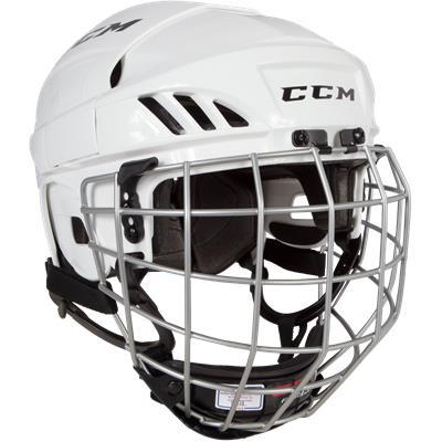 White (CCM Fitlite FL40 Hockey Helmet Combo)