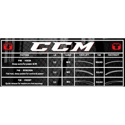 Blade Chart (CCM RBZ 260 Grip Composite Hockey Stick)