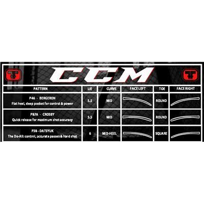 Blade Chart (CCM Ribcor Reckoner Grip Composite Hockey Stick)
