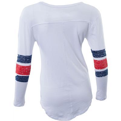 (Retro Brand Columbus Blue Jackets Henley Long Sleeve Shirt)