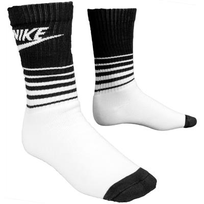 White/Black/White (Nike HBR Classic Striped Crew Socks)