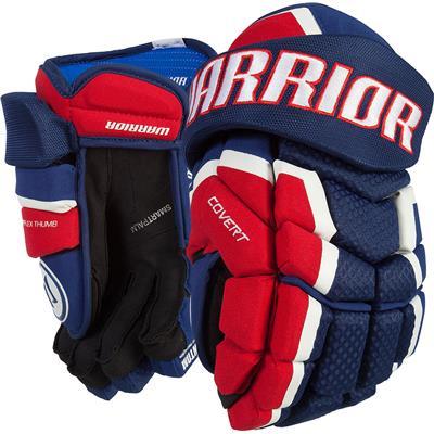 Navy/Red/White (Warrior Covert QRL3 Hockey Gloves - Senior)