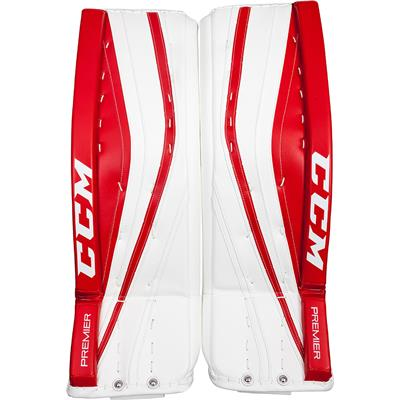 White/Red/Red (CCM Premier Pro Goalie Leg Pads - Senior)
